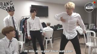 [ENG] 160922 [BANGTAN BOMB] RM and Jin Dance Stage Behind the scene for BTS DAY PARTY 2016