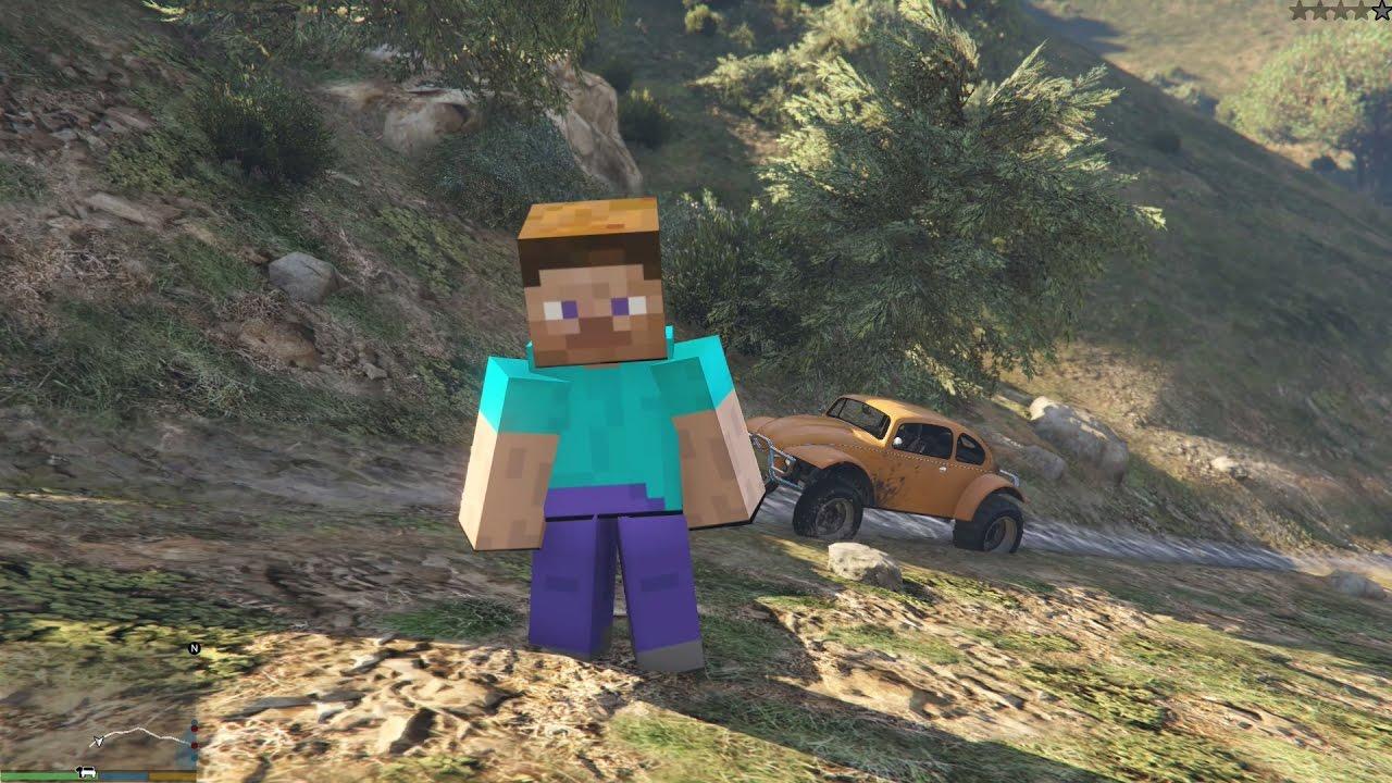GTA 5 Minecraft Mod – Steve Minecraft xuất hiện trong GTA 5