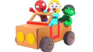 SUPERHERO BABIES BUILD A TOY CAR WITH CARDBOARD ❤ SUPERHERO PLAY DOH CARTOONS FOR KIDS