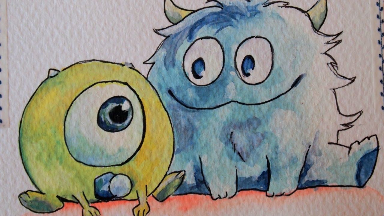 How To Draw Mike Wazowski And Sully Drawing Mike an...
