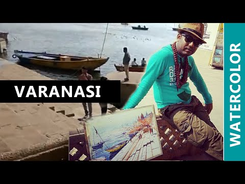 Watercolor painting live demo in  Varanasi Ghat by Sankar Thakur