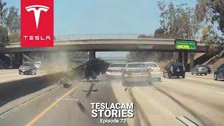 TESLA AUTOPILOT VS IDIOTS IN CARS - 15 CRASHES, FAILS & SAVES | TESLACAM STORIES #72