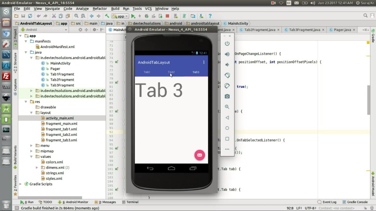 Android TabLayout Example using with Swipe and Fragment in Android -  Sliding Tabs