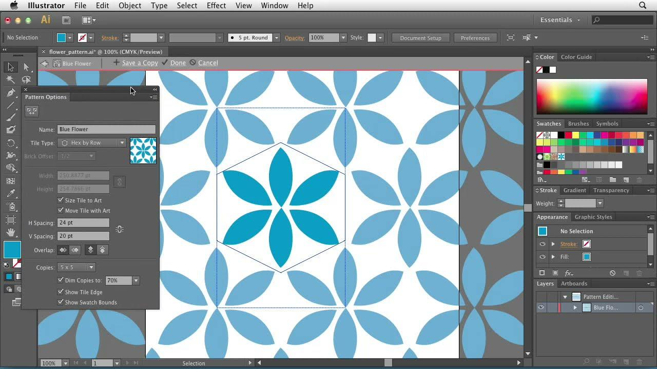 Illustrator CS6: Using the Pattern Options tool   lynda com tutorial
