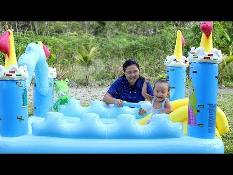 Unboxing Kolam Renang Kastil Anak Bayi Lucu - unboxing baby swimming pool Castle kids