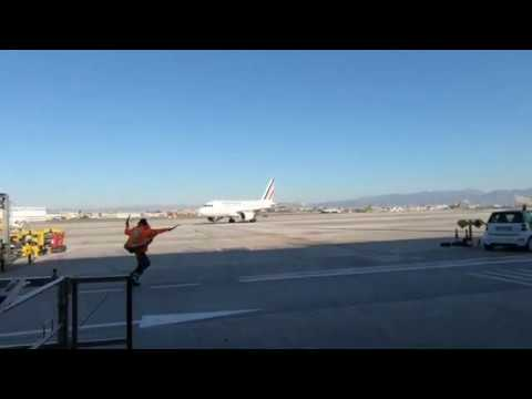 Curious late marshaling Air France Airbus A318 ramp agent Naples airport