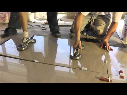"Porcelain tiles 2'x4' (24""x48"") installation - Polmaster's New Showroom"