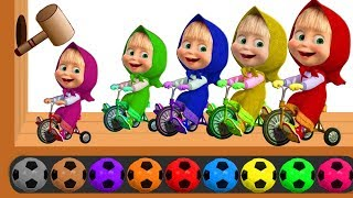 Learn Colors with Masha And The Bear Soccer Balls, Wooden Ha...