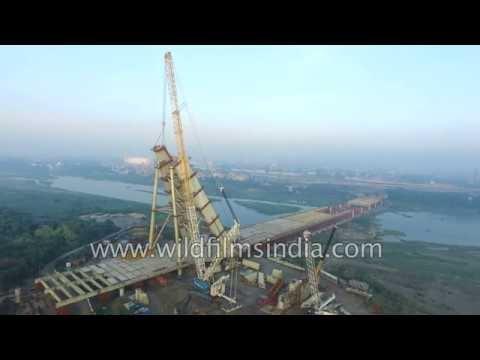 Signature bridge over Yamuna way past date, but looks fantastic from the air, Wazirabad
