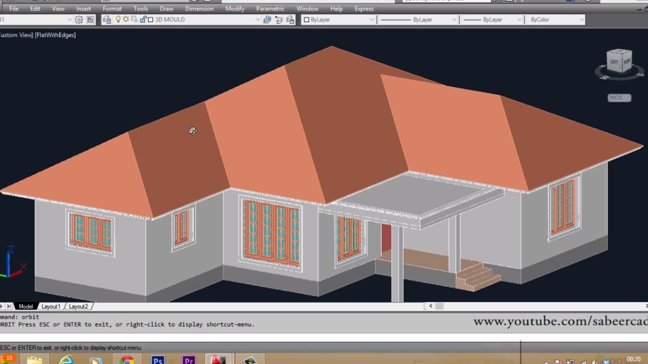 Autocad 3d house part6 sloped roof autocad sloped roof for How to design 3d house plans