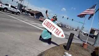 Amazing Sign Spinner! Liberty Tax Best Waver Contest Winner!
