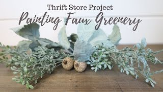 Painting Faux Greenery | Thrift Store Project