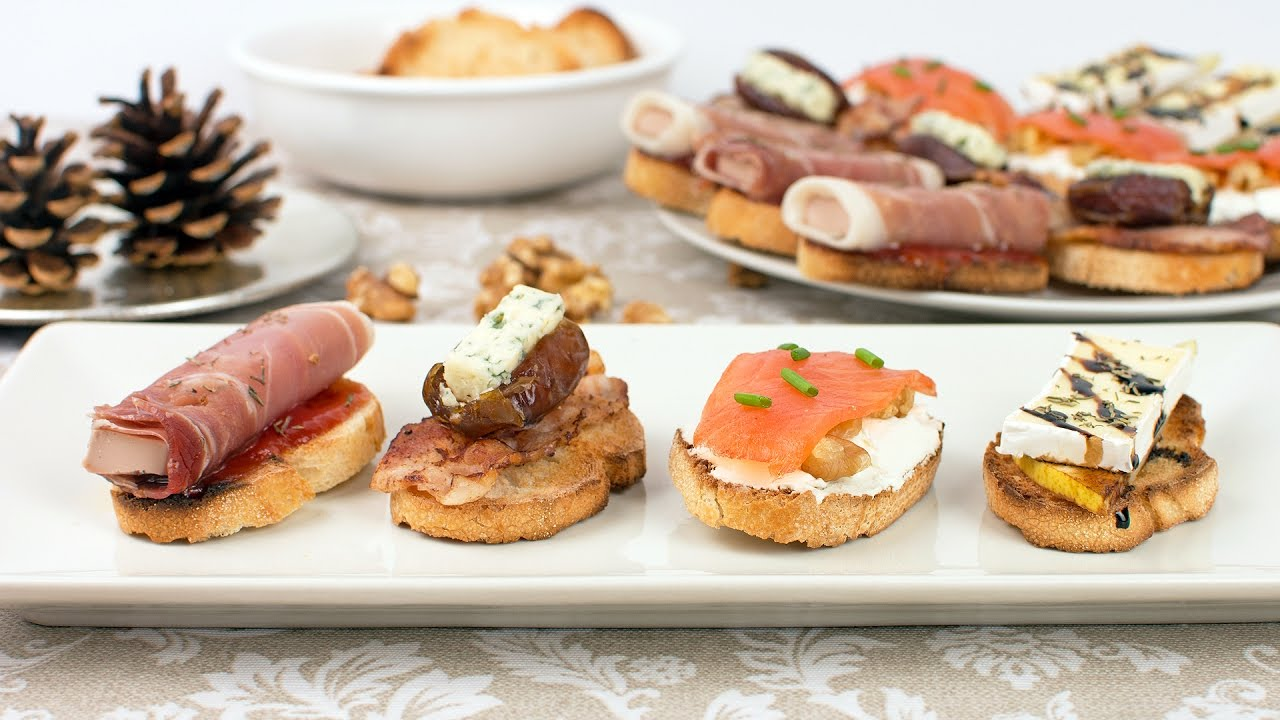 Christmas Party Hors D Oeuvres Ideas Part - 36: 4 Christmas Appetizer Ideas - Quick U0026 Easy Crostini Recipes - YouTube