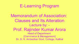 Memorandum of Association: Its Clauses and its Alteration in Hindi (Lecture 2 of 8))