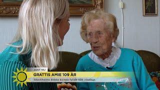 """Grattis Amie 109 år: """"Det är aldrig försent att träffa nya kompisar"""" - Nyhetsmorgon (TV4)"""