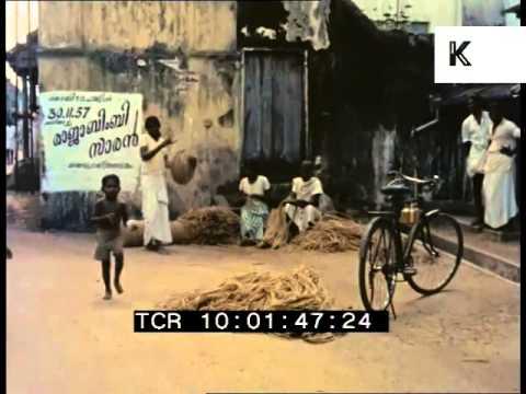1950s India, Streets, Rare 35mm Colour Archive Footage, Cochin, Kochi