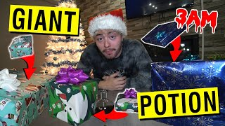 (IT WORKED) USING GIANT POTION FROM THE DARK WEB ON MINI PRESENTS AT 3AM!! *GIANT PRESENTS APPEAR*