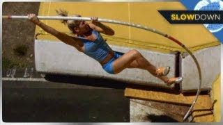 High Flying Pole Vault In SLOW MOTION