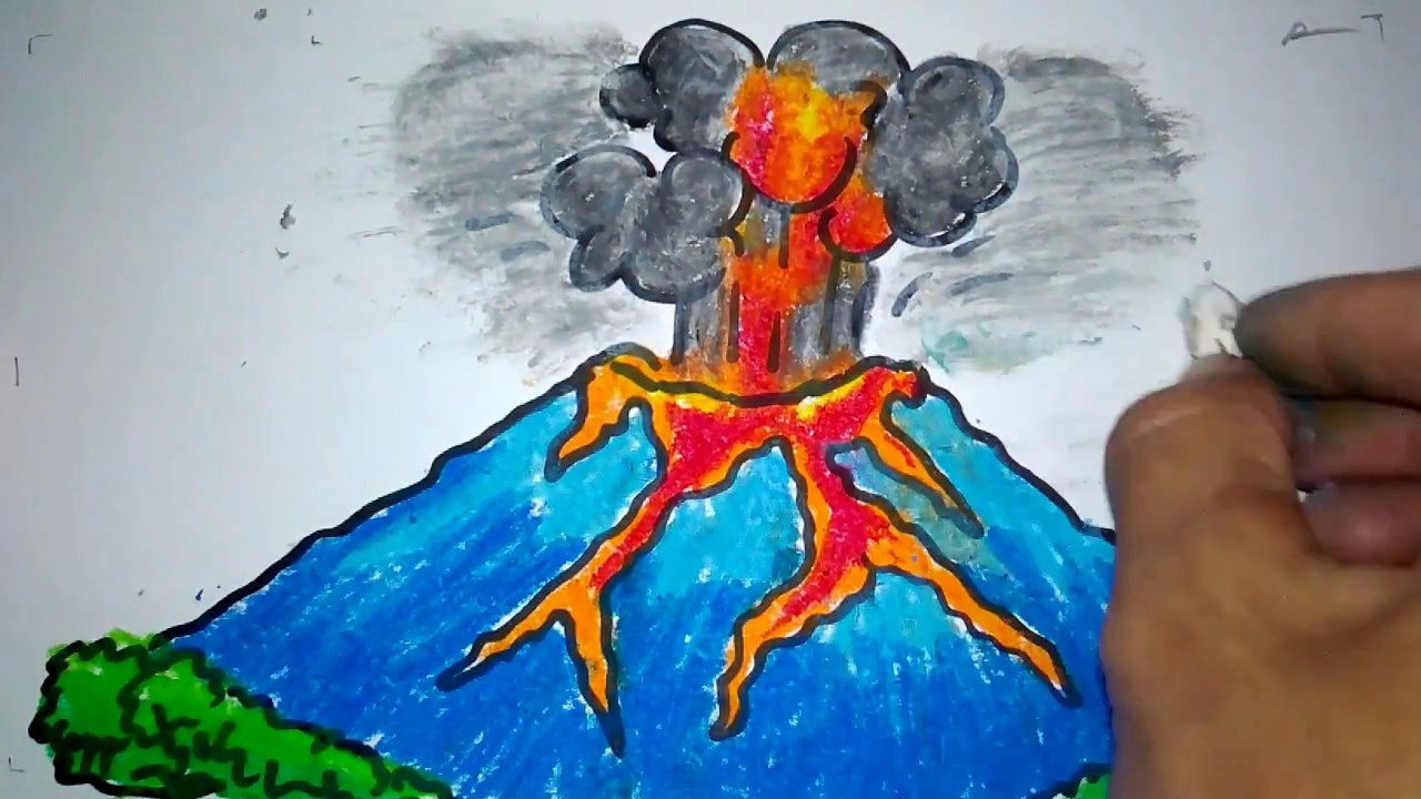 cara menggambar gunung meletus