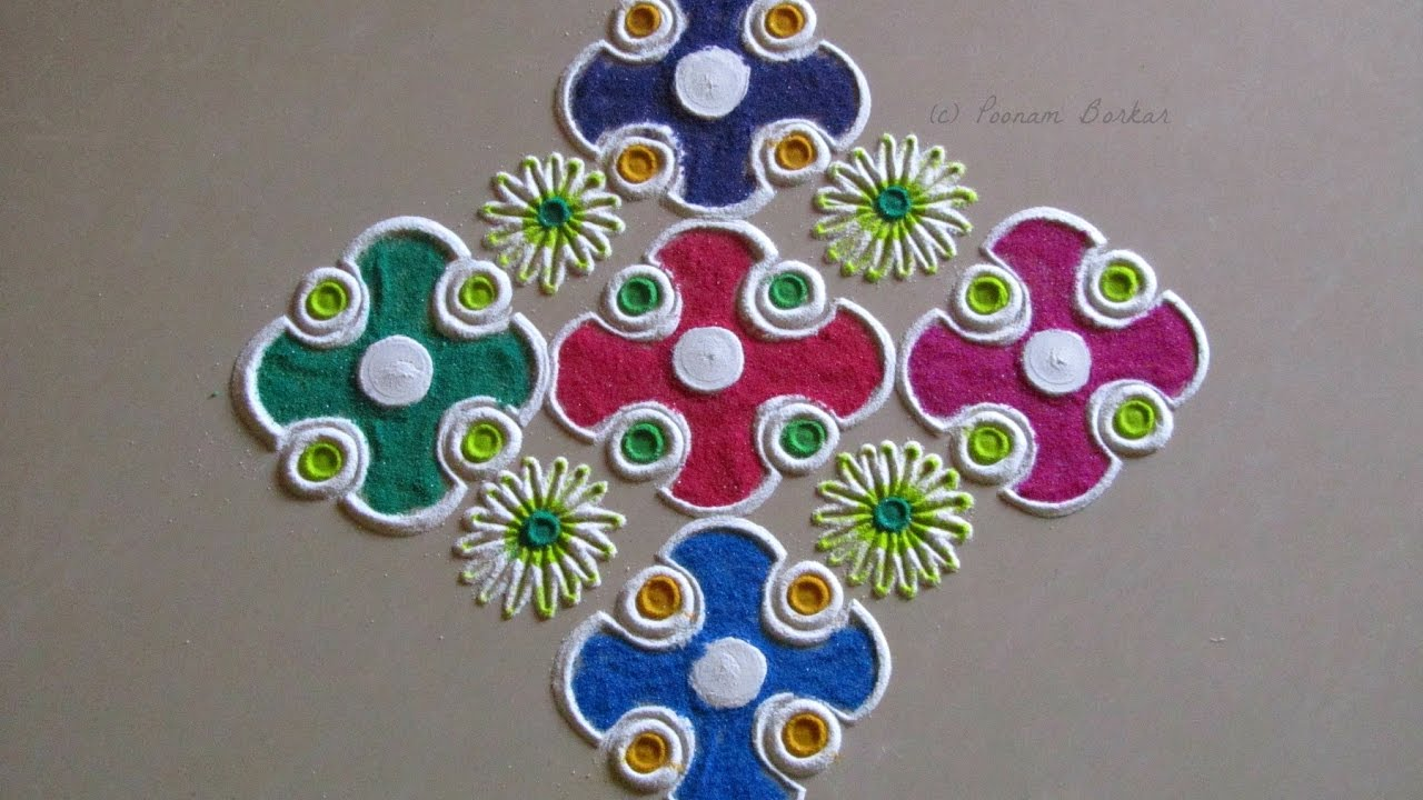 Small easy and quick rangoli design Easy Rangoli designs with