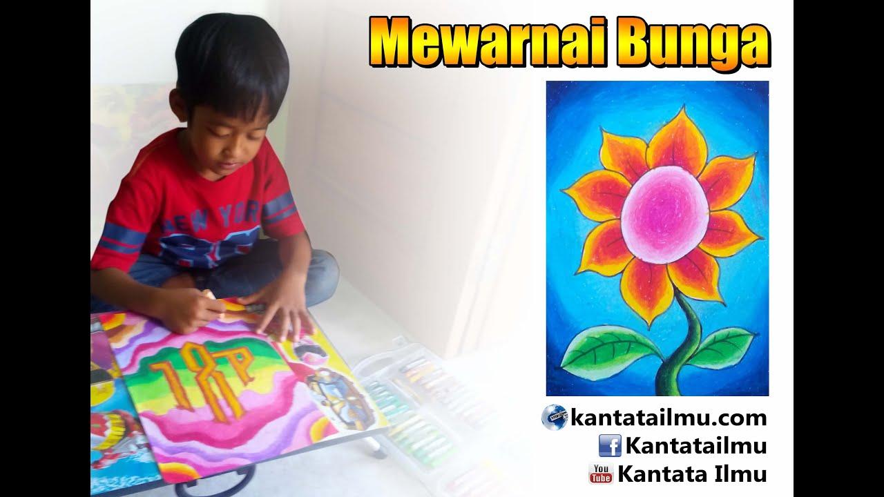 Mewarnai Bunga menggunakan Krayon