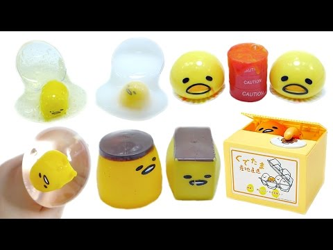 Gudetama Coin Bank Slime Squishy Squeeze Toy Compilation 3