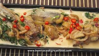 Asian Food - Fried Fish Coconut Milk & Thai Basil Recipe Tilapia Sea Bream Whole Fish