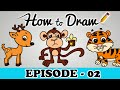 How To Draw A Monkey, Tiger & Deer - StepByStep Cartoon Art Drawing Tutorial For Kids & Beginners