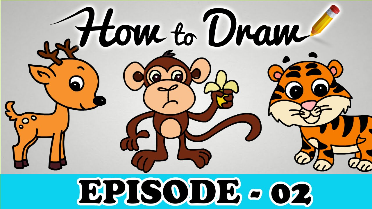 Uncategorized Tiger Drawing For Kids how to draw a monkey tiger deer stepbystep cartoon art drawing tutorial for kids beginners youtube