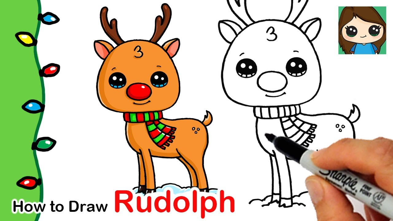 How To Draw Rudolph Christmas Series 3 Youtube