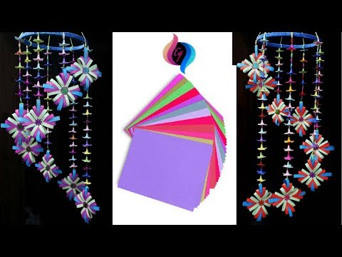 Easy paper craft - How to make wind chimes out of paper - Paper wall hanging ideas