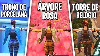 DANCE NO ALTO DE UMA ÁRVORE ROSA, TORRE DE RELÓGIO, TRONO DE PORCELANA GIGANTE - Fortnite