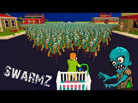Попробуй ОСТАНОВИТЬ ЭТИХ ЗОМБИ и СПАСТИ РЕБЕНКА! Битва ЛЮДЕЙ против Зомби в Игре SwarmZ