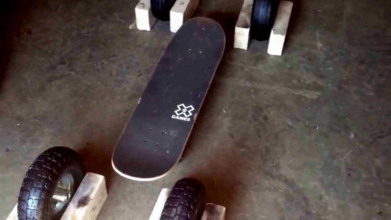 Home Made Motorized Skateboard With 10 Wheels Part 1