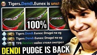 7.21 DENDI PUDGE IS BACK 7000 MMR 100% Hook Dota 2 gameplay