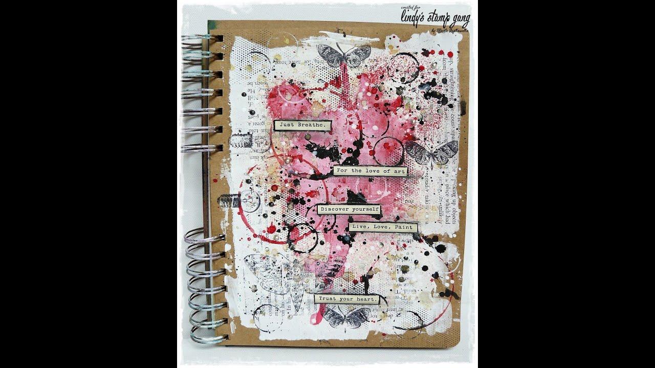 Art Journal Calendar Tutorial : Moth mixed media art journal page youtube