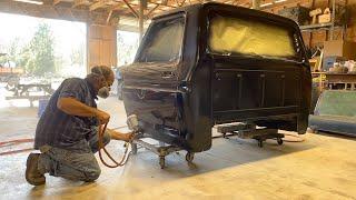 Restoring an Abandoned 1974 F๐rd F250 Restoration Swamp Dragon! Glass & Primer! Resurrection Rescue!
