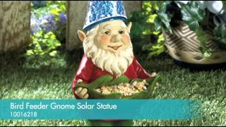 Bird Feeder Gnome Solar Statue - 10016218