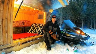 Solar Heated Snowmobile Caṁper Journey - Solo Winter Camping in my