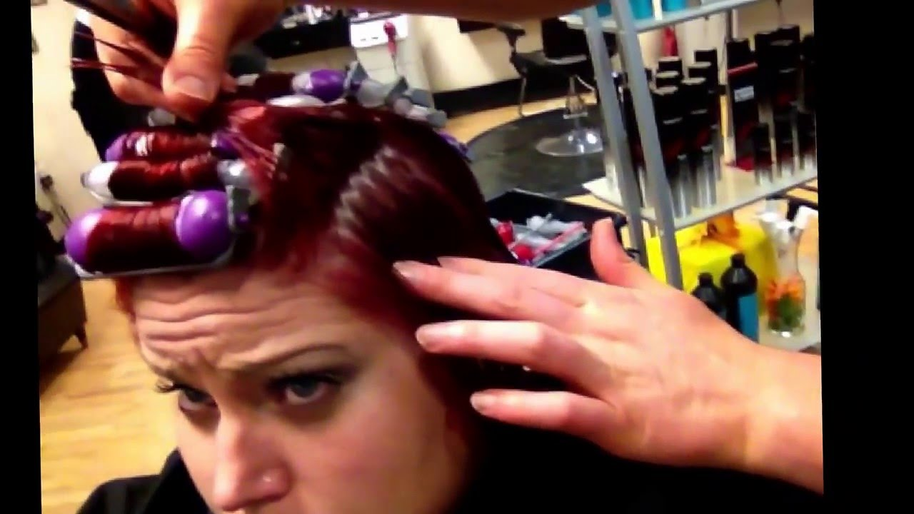 Red hair color olaplex perm with carver texture tools - YouTube