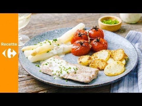 escalope-de-veau-aux-asperges,-rondelles-de-pommes-de-terre-et-tomates-grillées