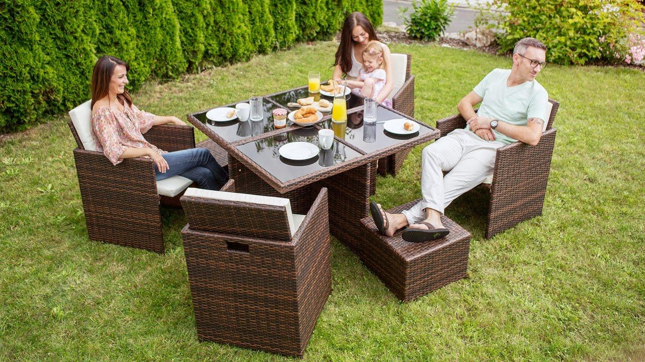 Rattan Aluminium Garden Dining Cube Set | TecTake