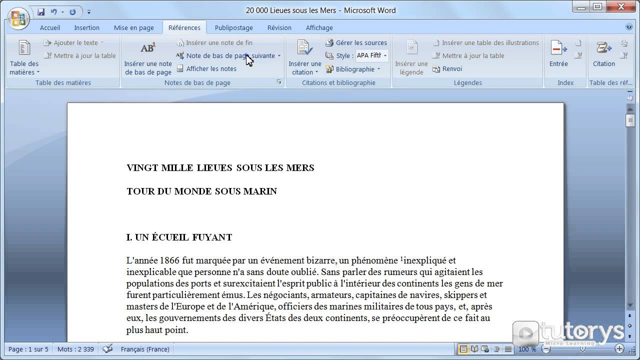comment ins u00e9rer des notes de bas de page avec word 2007