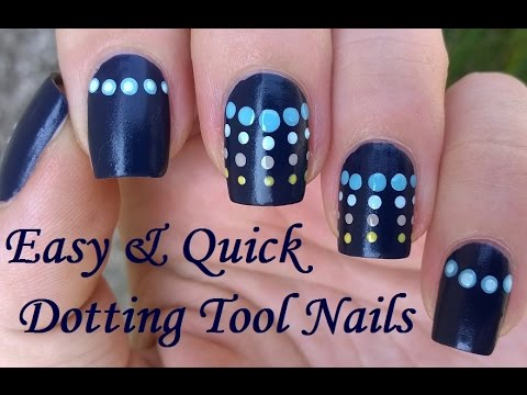 Dark Blue Dotticure Nail Art Easy Quick Suede Nails Design