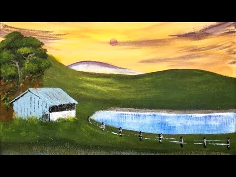 Acrylic painting – Landscape #35 🏡 Spring of Old House – Satisfying art – for beginners
