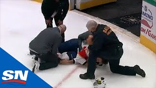 Aaron Ekblad Stretchered Off The Ice After Falling Awkwardly Along The Boards