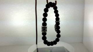 8 Mm Black Onyx Maltese Cross Bracelet