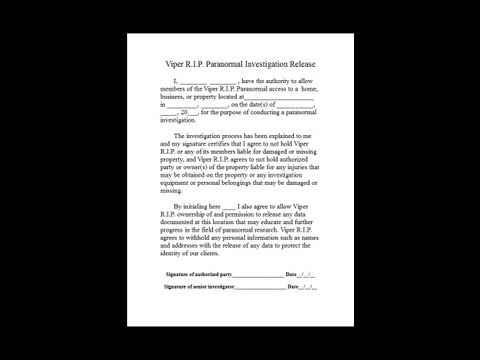 Making A  Paranormal Investigation Release Form! (Client Contract)