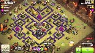 "Shattered GoLaLoon by rob. ""V MOAT"" base 3 Star TH9 with poison spell"