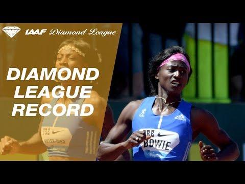 Tori Bowie defeats Elaine Thompson to win 200m - Eugene - IAAF Diamond League 2017